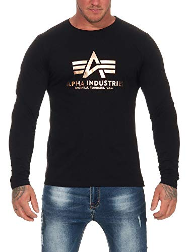 Alpha Ind. Basic Langarmshirt schwarz/Gold - L