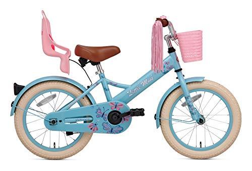 POPAL SuperSuper Little Miss Kinder Fahrrad für Kinder | Fahrrad Mädchen 16 Zoll ab 4-6 Jahre| Kinderrad met Stützrädern | Rad mit Korb und Puppensitz |Turquoise