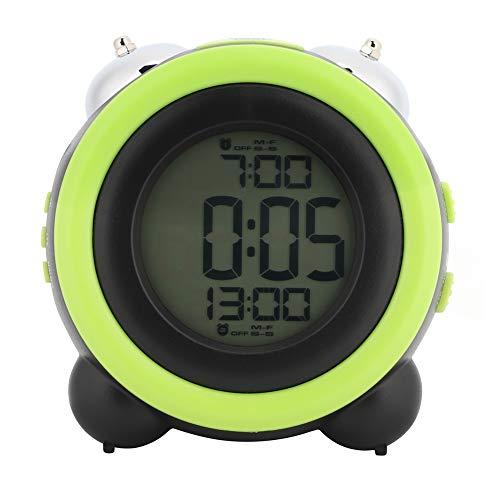 Huairdum Reloj Despertador LCD, Material práctico, Reloj de Escritorio, Dormitorio de Campana Doble de Metal para el hogar