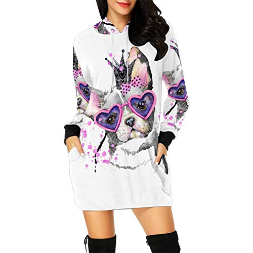 InterestPrint Cute Dog Watercolor French Bulldog Women's Long Sleeve Hoodie Mini Dress Sweatshirt Large