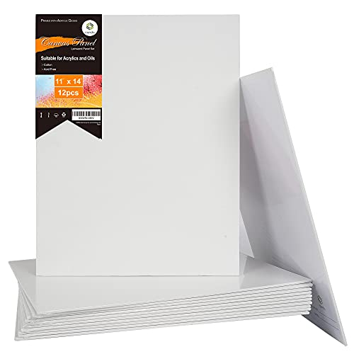 CONDA Artist Canvas Panels 11 x 14 inch, 12 Pack, Primed, 100% Cotton, Artist Quality Acid Free Canvas Board for Painting & Oil