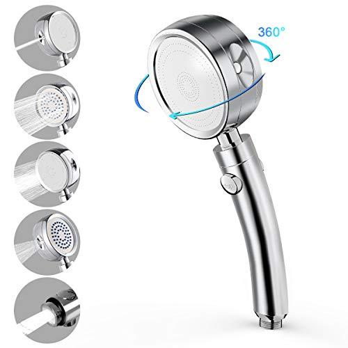 Adkwse Duschkopf Handbrause, 5 Strahlarten, Hochdruck Handheld Hochdruck, mit Stopp Taste Wassersparend Brausekopf