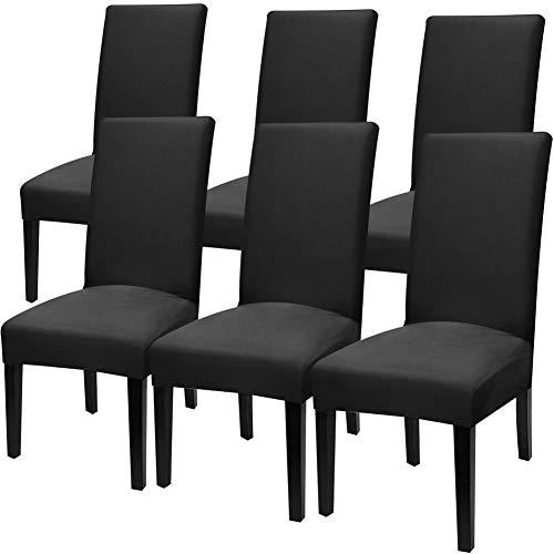 Fuloon Stuhlhussen 6er Set Universal Stretch Stuhlkissen Sessel überzug stuhlbezüge Stuhl Abdeckungen für Weihnachten, Esszimmer, Moderne Hochzeit Bouquet, Restaurant Dekor (6 Stück)