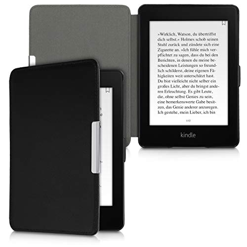 kalibri Hülle kompatibel mit Amazon Kindle Paperwhite - Leder eBook eReader Schutzhülle Cover Case (für Modelle bis 2017) - Schwarz