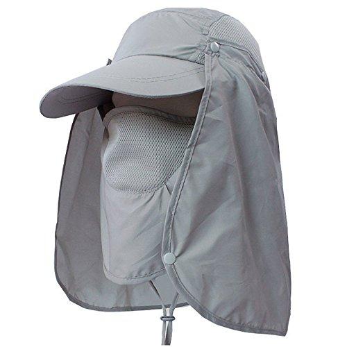 Joseche 360 ° UV-Schutz Sun Cap, Flap Hut Man Frauen Falten UPF 50+ Sun Cap Erwachsene Abnehmbare Hals & Gesicht Flap Cover Cap für Angeln Wandern Garten Arbeit Outdoor Aktivitäten