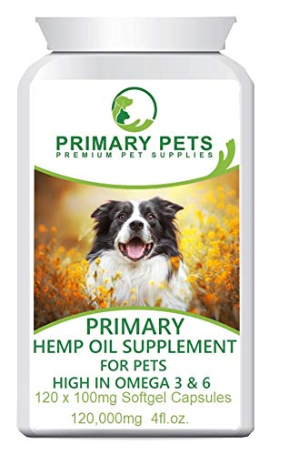 Hemp Oil for Dogs. 120ml Easy to Use Softgels. Great for Calming Pets, Joints and Health, Vitamins and Omega