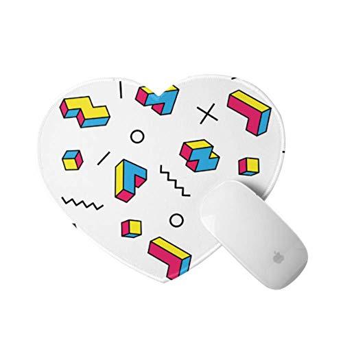Computer-Mauspad für Frauen Farbspiel Dreidimensionaler Block Russisches Computer-Mauspad 9,4 × 7,8 × 0,12 Zoll Ultra-Dickes 3-mm-herzförmiges tragbares Gaming-Mauspad Ideal für Schreibtisch