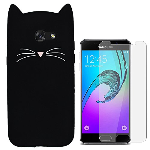 Hcheg 3D Silicone Protective Case Cover for Samsung Galaxy A3 (2016) Cover cat Design Black Case Cover + 1X Screen Protector