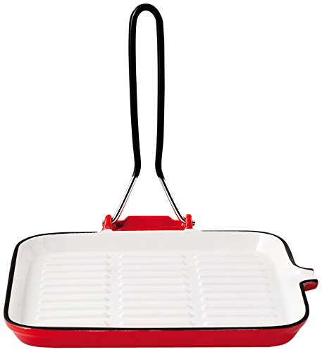 Home in Rombo Home Bistecchiera Ghisa SM Quadrato Cm22 Pentole E Preparazione Cucina, Bianco/Rosso, 22 cm