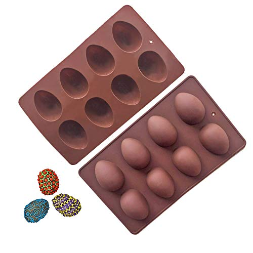 Megrocle 8 Cavity Silicone Egg Molds Set of 2, Food Grade Silicone Mold for Cake Decorating, Chocolate Mold, Candy Mold, Ice Cube Trays, Muffin Truffle Mold and More Bread Baking Molds