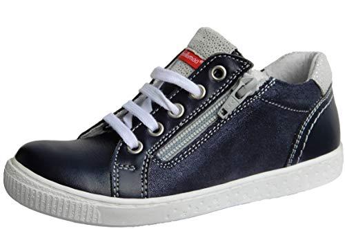 ennellemoo® Mädchen-Kinder-Halbschuhe-Sneaker- Echt Leder-Glitzer-Schuhe-Reißverschluss-Schnürer.Premiumschuhe - Vollleder. (30, Navyblau/Silber)