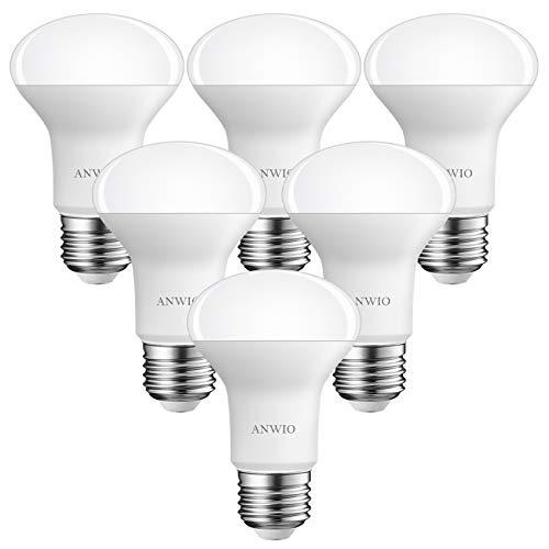 6 Unidades 8W Bombillas Reflectoras E27, R63 LED Casquillo Gordo, Equivalente a 60W, 806Lúmenes, 6500K Blanco Frío, R63 Bombilla LED -ANWIO.