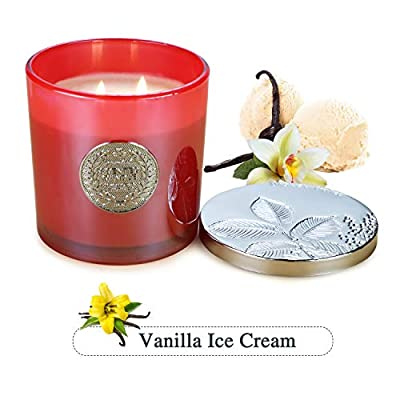 Double Gift 2-Wick Premium Grade Candle, Home Fragrance Candles Made with Soy Wax, with Metal Logo - Vanilla & Ice Cream