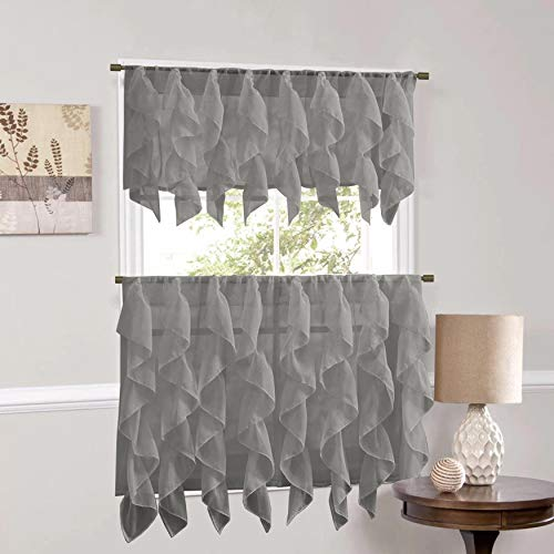 """Sweet Home Collection Veritcal Kitchen Curtain Sheer Cascading Ruffle Waterfall Window Treatment-Choice of Valance, 24"""" or 36"""" Teir, and Kit, Gray"""