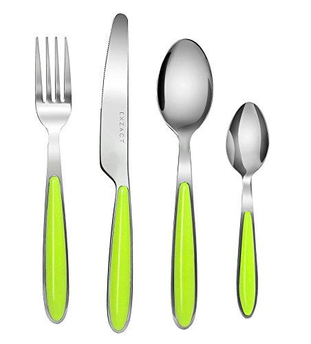 Exzact Conjunto de cuberteria con 24 Piezas - Acero Inoxidable con manecillas de Color - 6 Tenedores, 6 Cuchillos, 6 Cucharas, 6 Cucharaditas (Verde x 24) (EX07)