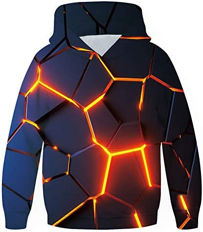 Unisex Hoodies for Kids 3D Prints Sweatshirts Pullover with Pocket for 7-15 Years