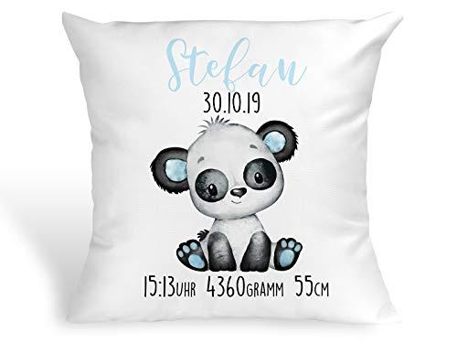 Tachinedas Kreativshop Personalisiertes Kissen mit Panda Bärchen Geschenk zur Geburt oder Taufe mit Namen und Datum Junge Bär