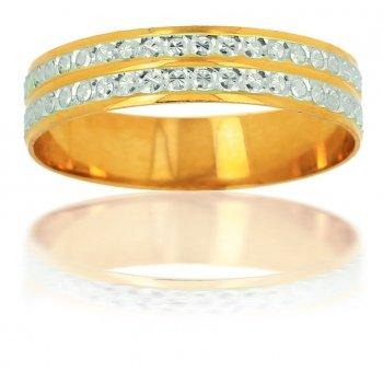 Alianza Bicolor Compuesta De oro amarillo y oro blanco de 18 quilates.