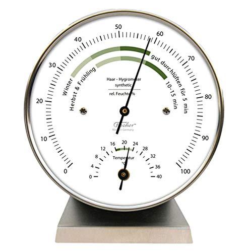 Fischer 122.01HT-01 Wohnklima-Hygrometer Edelstahlgehäuse, 103 mm