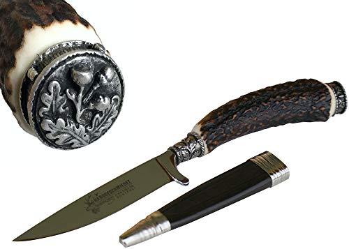 Jagdmesser Trachtenmesser Jagd-Messer Hirschfänger Eichenlaub Hirschhorn Wild Jagdnicker für Lederhose Jäger Fischer Fischen Jagen echt versilbert Stahl-Klinge Solingen