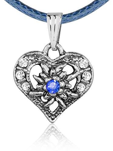 Kinder Trachten Halskette Sira mit Edelweiß Herz - Dunkelblau - Zauberhafter Schmuck für Mädchen zu Dirndl und Kleidern