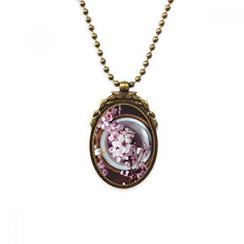 DIYthinker - Collar con Colgante de latón Envejecido, diseño de Flor de Ciruelo, Color Rosa
