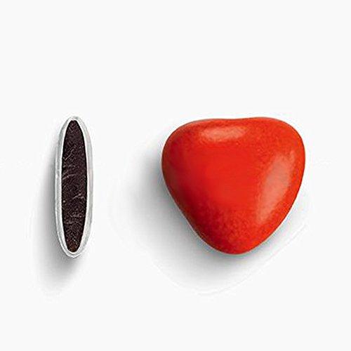 Herzdragees rot 500 g (ca. 250-275 Stück) - Gastgeschenke Hochzeit Bonboniere Candy Bar Give Aways - Schokolinsen Herz Schokodragees Schokoherzen Schokoladenherzen - Alternative zu Hochzeitsmandeln