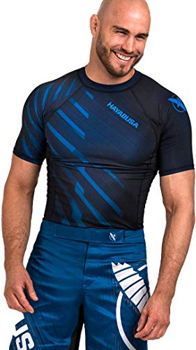 Hayabusa Metaru Short Sleeve Jiu Jitsu Rashguard - Blue, Large