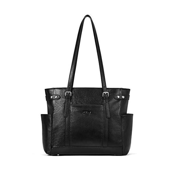 Laptop Totes for Women Genuine Leather Briefcase Large Ladies Shoulder Bag Work Handbags 15.6 Inch 1