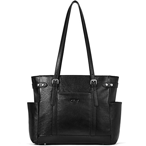 Laptop Totes for Women Genuine Leather Briefcase Large Ladies Shoulder Bag Work Handbags 15.6 Inch Computer Black