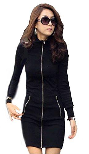 Mississhop 95-33 Japan Style Damen Longshirt Kleid Tunika Jacke mit Reißverschluss Schwarz S