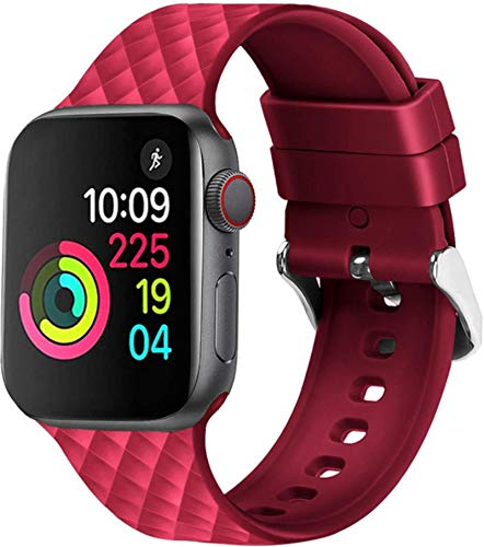 Correa de silicona para Apple Watch Band 44 mm 40 mm para Iwatch Band 38 mm 42 mm Pulsera deportiva Correa de caucho para Apple Watch 5 4 3 2 1-Rojo, para 38 mm y 40 mm