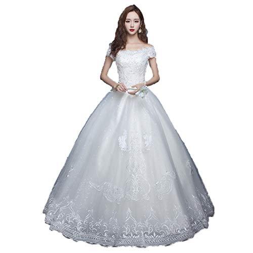 Vestido de novia Mujeres fuera del hombro de manga corta de encaje...