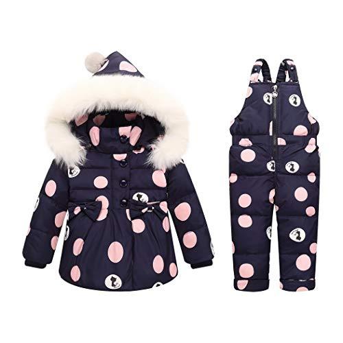 Premewish Baby Mädchen Schneeanzug Set,2 TLG Daunenjacke und Schneelatzhose,Kapuze mit abnehmbaren Plüschbesatz - kw816 (24-36 Monate, Dunkelblau)
