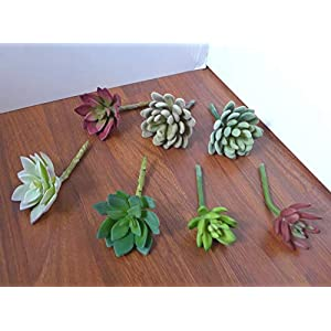Artificial Flowers 7 Mix Plants Succulent Snowball and Lotus Flower Grass Realistic Flower Arrangements Craft Art Decor Plant for Indoor Outdoor Decoration