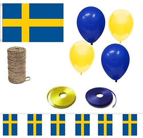 INERRA Bandera Evento Paquete – Incluye Bandera Grande, Mezclado Globos, Cinta, 10ft Guirnalda y Cuerda - Sweden
