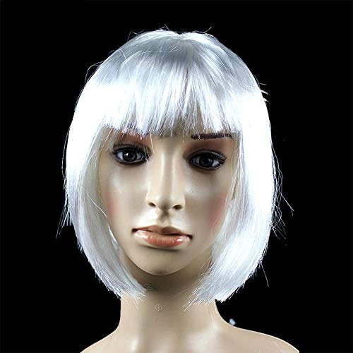 WUX African female wig short hair wig black hair wig small volume explosion headgear European and American hot wig set (Couleur : Blanc)