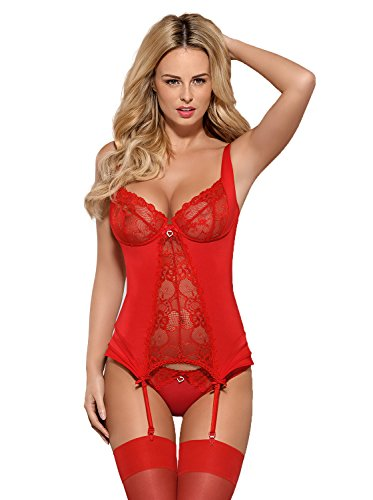 Obsessive Rote Damen Straps-Corsage mit Bügel-Cups, Schnürung und Panties Slip Dessous Set aus Spitze transparent Größe: S/M