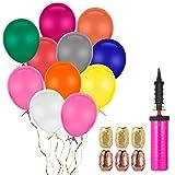 FORMIZON 150 Stück Luftballons Bunt und 1 Ballonpumpe, 6 Farbband, Bunte Ballons Farbige Ballons, Partyballon für Geburtstagsfeiern,Party,Hochzeits