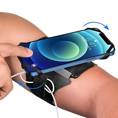 VUP Laufenarmband Handy, 360° Drehbares Sportarmband für rennen, Handyhalterung joggen, Universales Jogging Armband für alle Handy von 4–6,7 Zoll, kompatibel mit iPhone, Samsung, Huawei usw. (Schwarz)