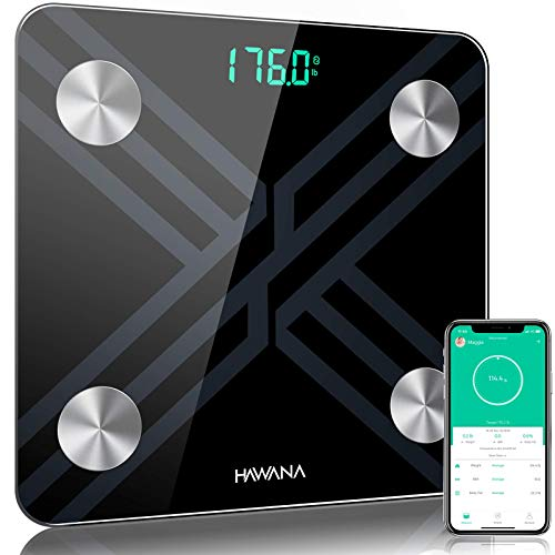 Body Fat Scale HAWANA Large Size 28x28cm Digital Body Weight Scale Large LED Display High Precision Smart Bathroom Scale with Body Composition Analyzer Sync with Smartphone App for Fitness