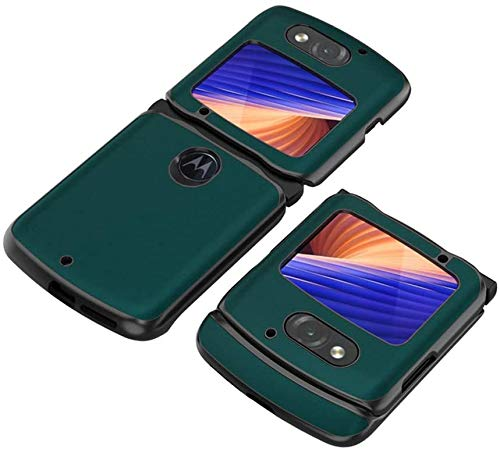 DEMCERT Schutzhülle für Motorola Razr 5G, luxuriös, Carbonfaser, Leder, Hybrid-Hülle, vollständiger Schutz, stoßfest, für Motorola Razr 5G 2020 Version (grün)