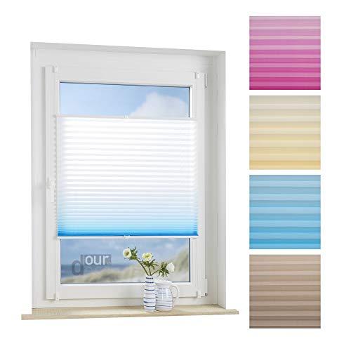 ourdeco® Plissee / 90 x 130 cm weiß-azurblau/lichtdurchlässig, Blickdicht/Farbverlauf: azurblau, orange/Klemmen=Montage ohne Bohren=Smartfix=Klemmfix-Plissee=Easy-to-fix