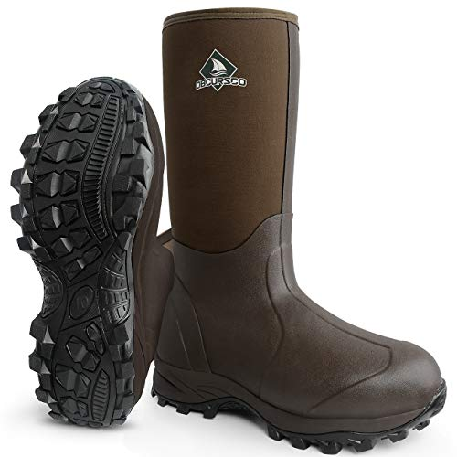 Obcursco Waterproof 6mm Neoprene Rubber Boot for Men and Women Insulated Rain Boot for Outdoor Activity. Ideal for Farm Working, Hunting and Fishing (Standard Brown, 10)