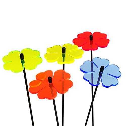 5X Sonnenfänger Doppel Blüte, Deko Blumen Gartenstecker 5er Set mit 25cm Schwingstab, Leuchtende Garten Geschenk Idee, Farbe:alle Farben (5)