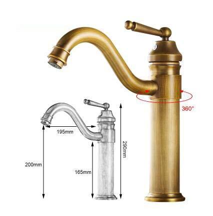 RSZHL kraan voor badkamer, antiek brons, hoge vaas, waterkraan, mengkraan voor warm en koud water, antiek brons 290mm High