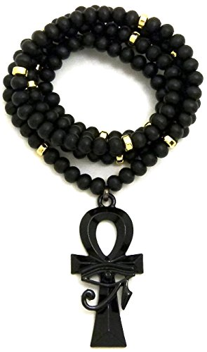 GWOOD Eye of Horus Over Ankh Pendant and Wood Bead Necklace with Inserts (Black/Gold Small)
