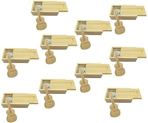 10 PCS Guitar Shaped Wood Memory Stick USB Flash Drive in Wood Box (2.0/512MB, Bamboo Wood)
