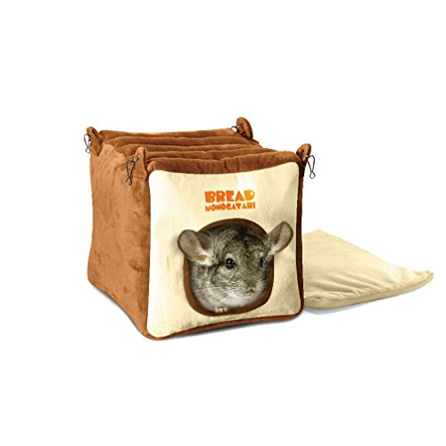 Emours Small Animal Warmly House Cage Hanging Bed with Bed Mat for Chinchilla
