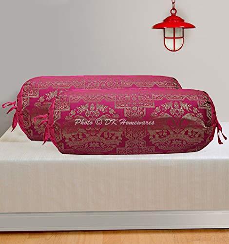 DK Homewares Indian Brocade Polydupion Seide Zylinder Diwan Kissen Kissenbezüge Pink Elephant 76x38 cm Jacquard Weave Home Decor...